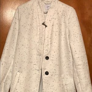 White and black accent dot pea coat